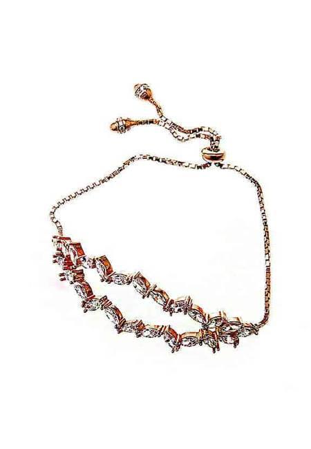 Дамска, сребърна гривна от розово сребро и багетен камък