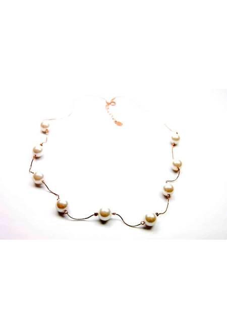 Колие от розово сребро и естествени перли