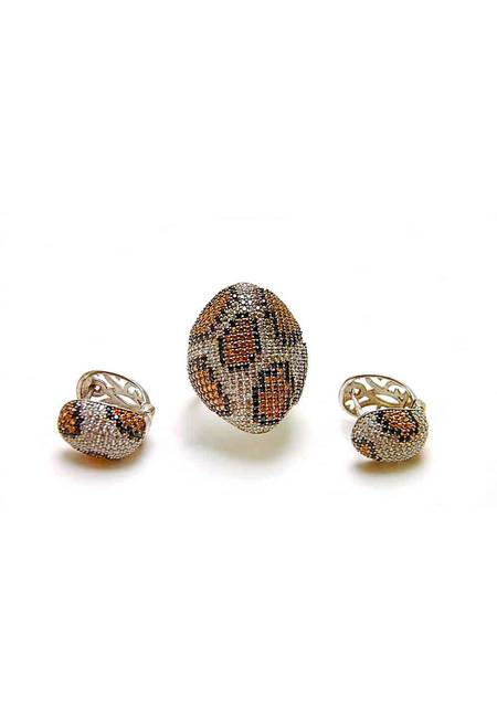 Комплект бижута от бяло сребро с цирконий в тигрова шарка