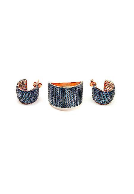 Комплект Обеци с Пръстен от Розово Сребро и Камъни от Цирконий в Син Цвят