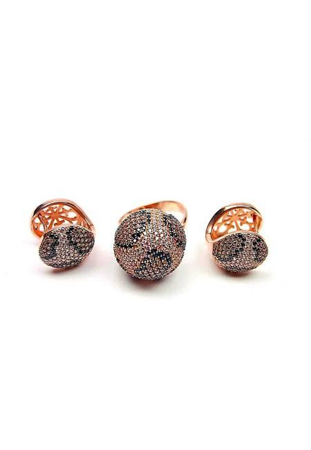Комплект бижута от розово сребро с цирконий в тигрова шарка