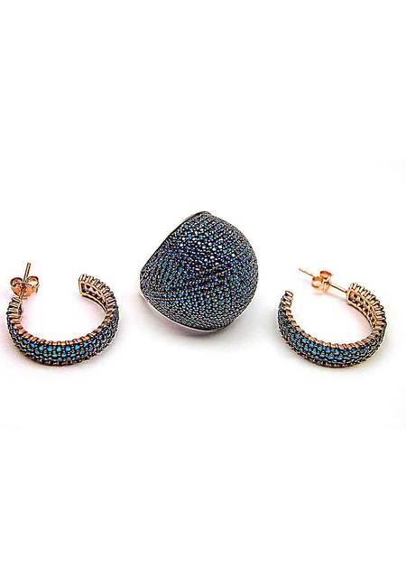 Комплект обеци с пръстен розово сребро 925
