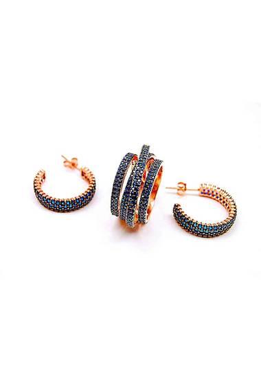 Комплект обеци и многопластов пръстен от розово сребро и цирконий в син цвят