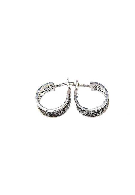 Обеци бяло сребро и цирконий BT003