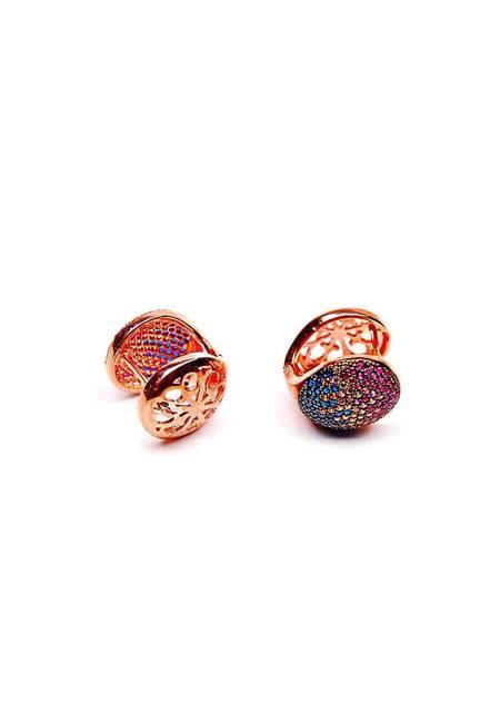 Обеци розово сребро и цветен цирконий OR0031