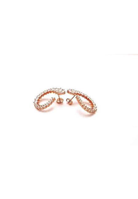 Обеци розово сребро и бели багетни камъни