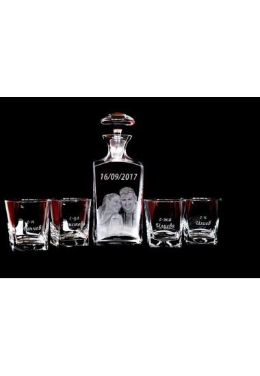 Декантер за уиски + 4 чаши