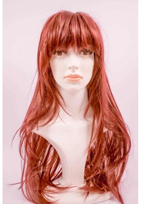 Дълга Червена Права Перука от изкуствен косъм
