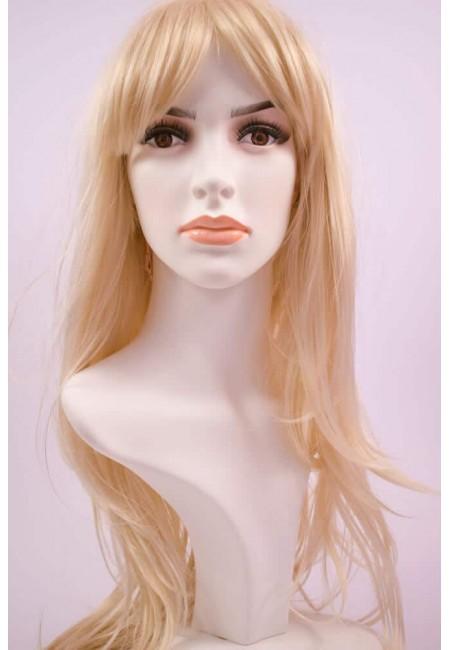 Светло Руса Дълга Права Перука от изкуствен косъм