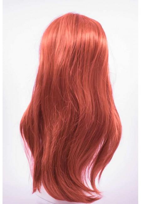 Дълга  Права Червена Перука от изкуствен косъм